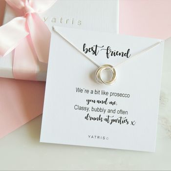 Prosecco Themed Best Friend Knot Necklace