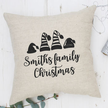 Personalised Embroidery Family Christmas Cushion