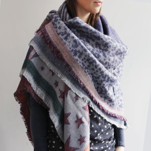 Reversible Stars Sun And Moon Shawl - ponchos & wraps