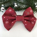 Red Snowflake Christmas Dog Bow Tie