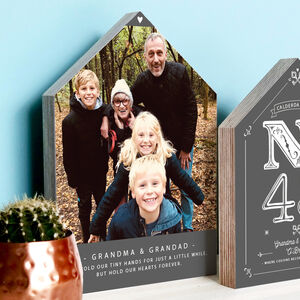 Personalised Wooden House Photo Block