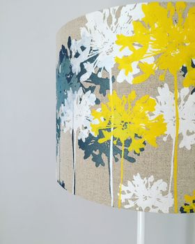Mustard Yellow And Grey Linen Floral Lampshade