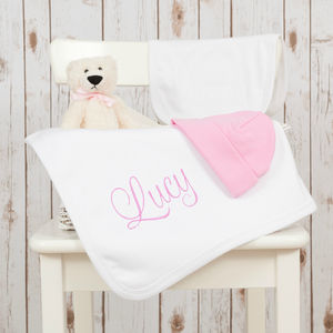 Personalised Embroidered Baby Blanket Gift Set - blankets, comforters & throws