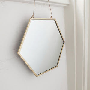 Large Geometric Brass Mirror