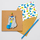 Handmade Party Blower Cat Personalised Card
