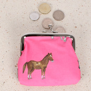 Pink Horse Coin Clipper Purse