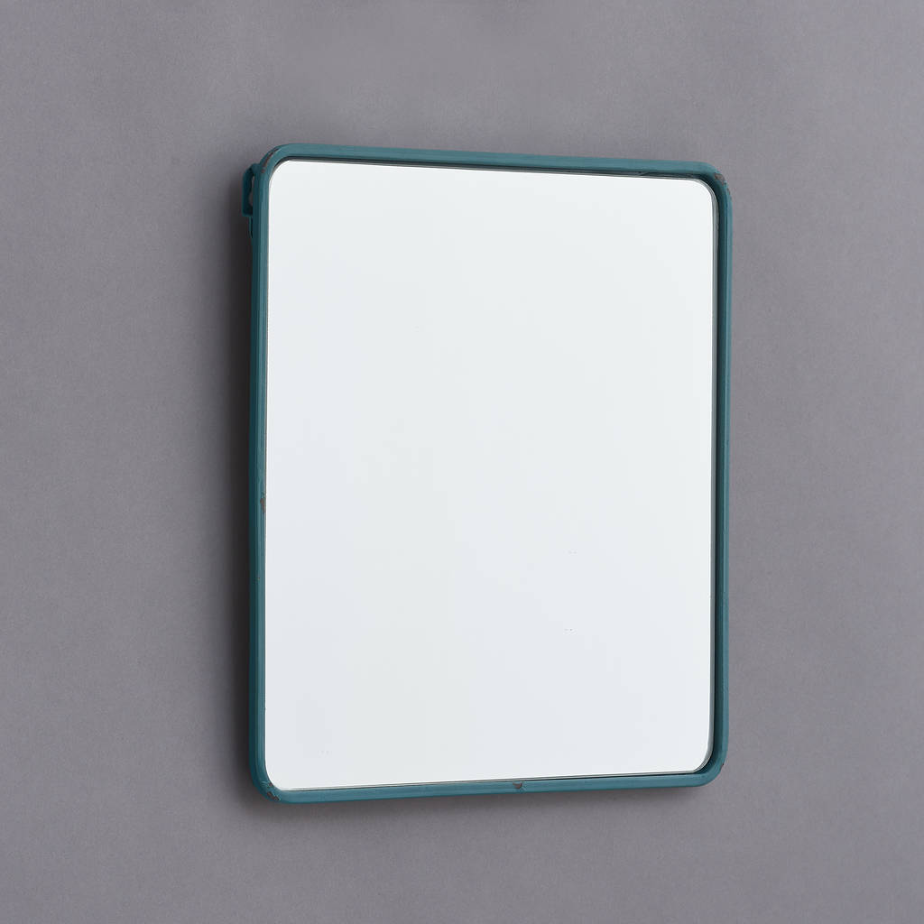 metal framed mirror in black, white, blue and yellow by horsfall ...