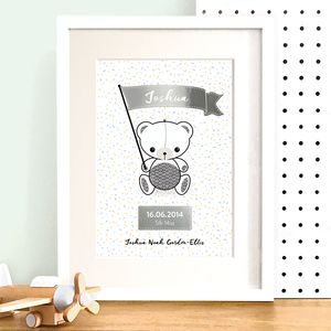 Personalised Teddy Bear Nursery Print With Silver Foil