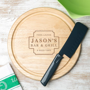 His Bar And Grill Wooden Chopping Board
