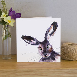 Inky Hare Blank Greeting Card