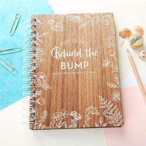 Personalised 'Behind The Bump' Walnut Pregnancy Journal - gifts for mums-to-be