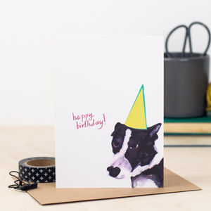 Dog In Hat Birthday Card