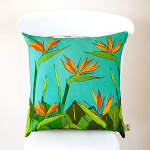 Tropical Bird Of Paradise Flower Cushion Cover - cushions