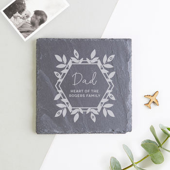 Family Dad Gift Slate Coaster