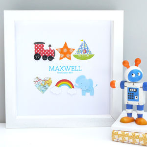 Personalised Baby Boy Christening Icon Artwork