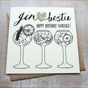 Personalised Gin Bestie Birthday Card