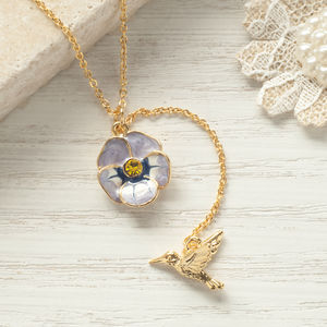 Golden Bird Flower Necklace - necklaces & pendants