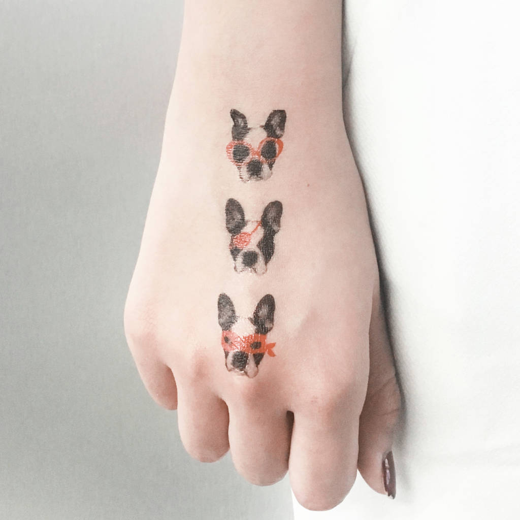 Three Of A Kind French Bulldog Temporary Tattoo
