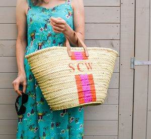 Monogram Stripe Straw Basket - totes