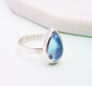 Aquamarine Personalised March Birthstone Ring - rings