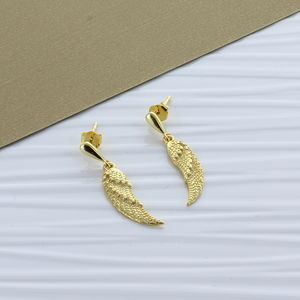 Gold Angel Wing Drop Earrings - top picks jewellery