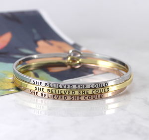 She Believed She Could Message Cuff Bracelet