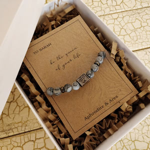'Queen Of Your Life' Personalised Grey Agate Bracelet