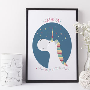 Personalised Unicorn Print For Children - new in baby & child