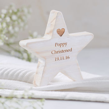 Personalised Wooden Star Christening Keepsake
