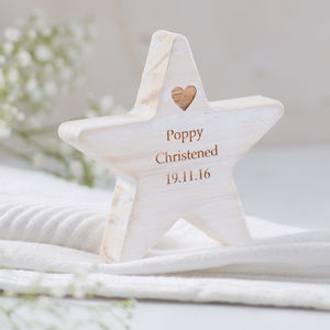 Personalised Wooden Star Christening Keepsake - keepsakes
