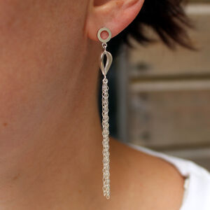 Silver Cascade Statement Earrings