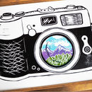 Retro Camera Linocut Print Mountain Range