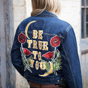 'Be True To You' Poppy, Embroidered Denim Jacket - brand new partners