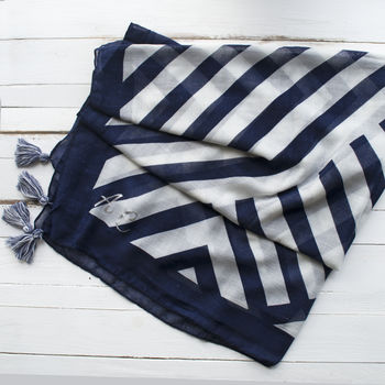 Monogramed Nautical Tassel Scarf