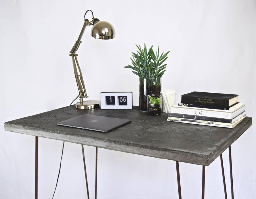 Concrete Desk Table With Steel Legs By Sort Cement