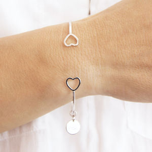 Personalised Open Heart Cuff Bangle - personalised jewellery