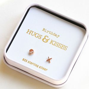 Gift Boxed 'Birthday Kiss And Hug' Earrings - earrings