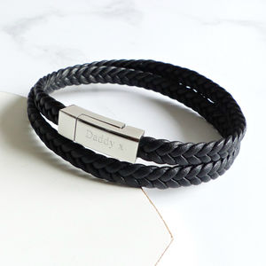 Mens Personalised Woven Leather Wrap Bracelet