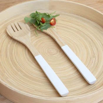 White Bamboo Salad Servers