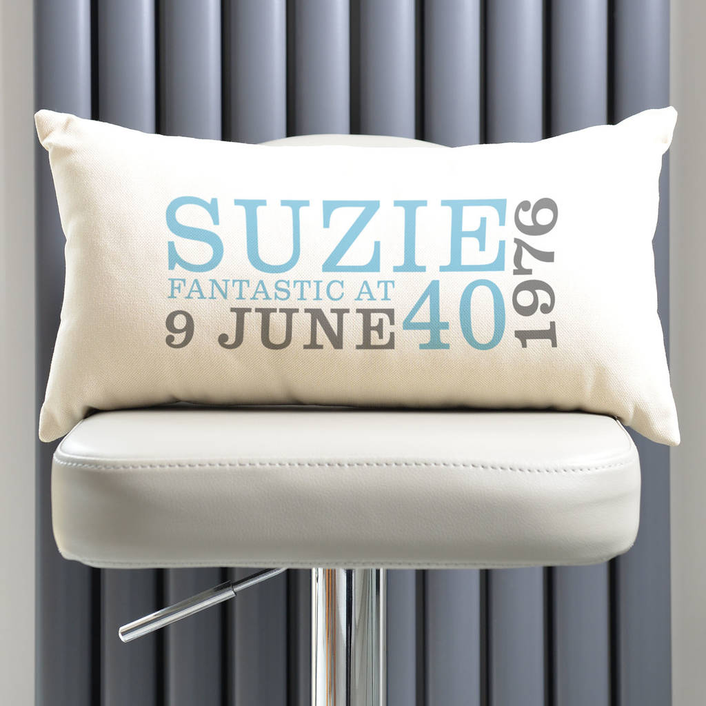 Personalised 40th Birthday Rectangular Cushion