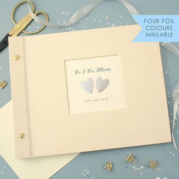Personalised Hand Foiled Hearts Wedding Photo Album