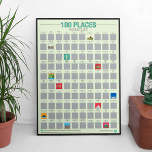 100 Places Scratch Bucket List Poster - 21st birthday gifts