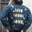 live laugh love embroidered denim jacket