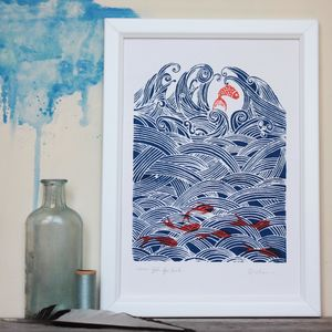 Seven Fish For Luck. Original Screenprint