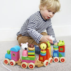 Personalised Animal Stacking Pull Along Train - personalised