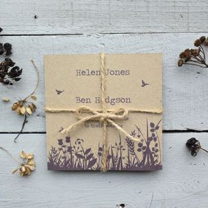 Recycled Wildflower Tri Folded Wedding Invitation