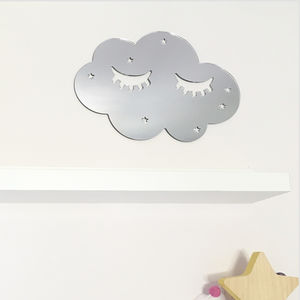 Sleepy Cloud Silver Mirror Acrylic Wall Decoration - children's mirrors
