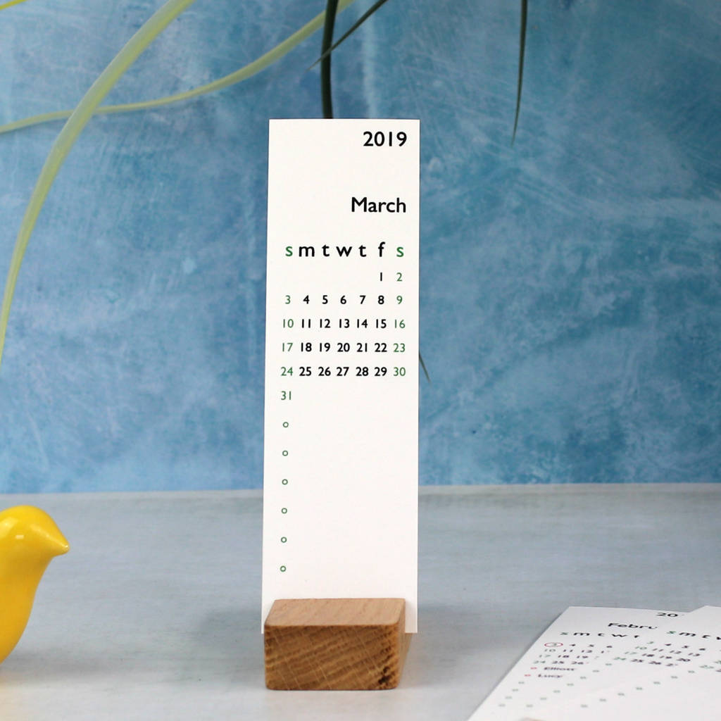 Personalised Calendar Wooden Desk Calendar By The Leather Diary And