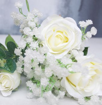 White Rose And Gypsophelia Artificial Bouquet