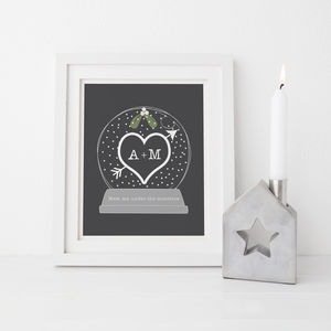 Personalised Initial Mistletoe Snow Globe
